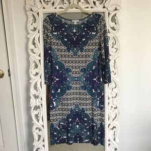 London Times Purple and Teal Paisley Dress